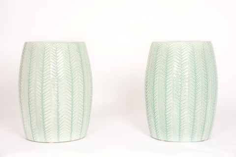 Pair of Garden Stools with Chevron in Duck Egg