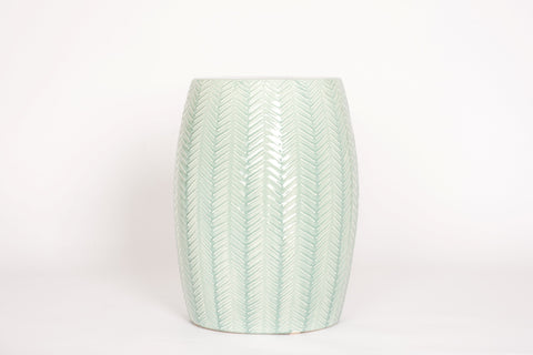 Garden Stool with Chevron in Duck Egg