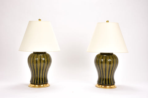 Pair of Chevron Lamps in Olive
