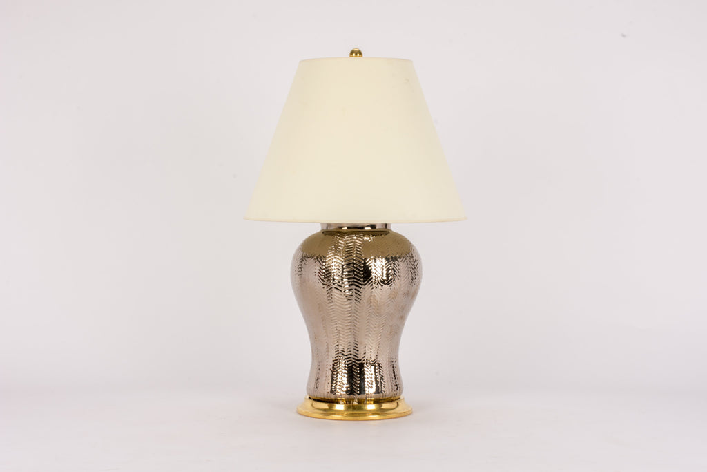 Single Chevron Lamp in Platinum Luster