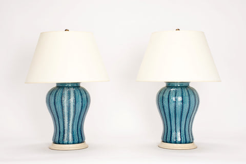 Pair of Chevron Lamps in Prussian Blue