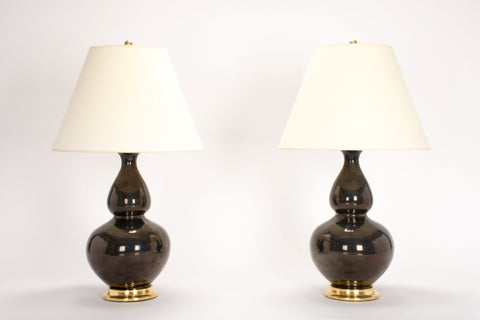 Pair of HT Double Gourd Lamps in Custom Blue Green Mirror