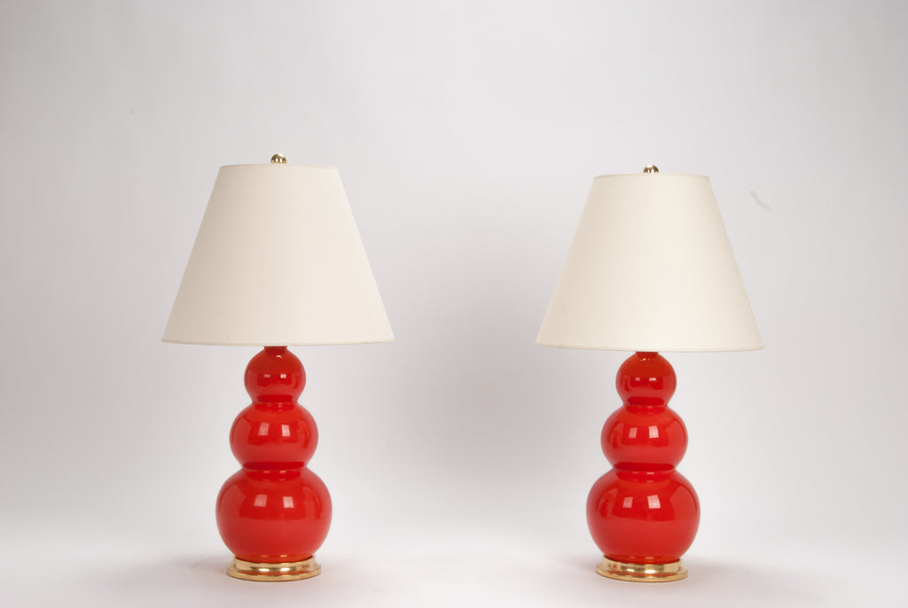 Pair of Medium Three Ball Lamps in Coral