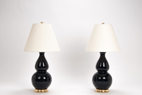 Pair of Medium Double Gourd Lamps in Navy