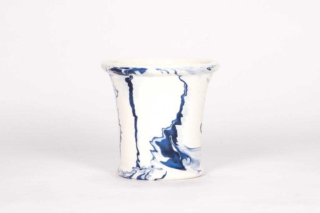 Large Cache Pot in Delft Blue Marble