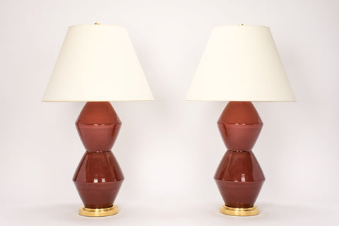 Pair of David Lamps in Custom Raspberry