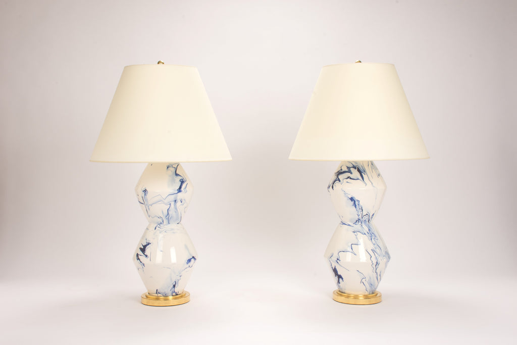 Pair of David Lamps in Delft Blue Marble