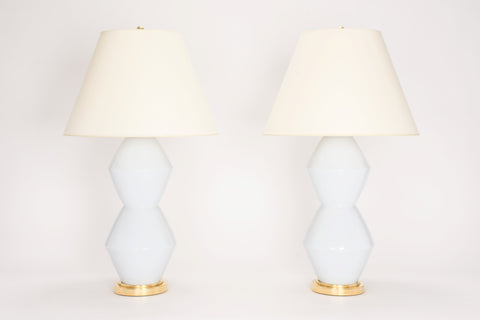 Pair of David Lamps in Hope Blue