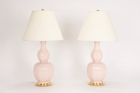 Pair of Delft Lamps in Blush Pink