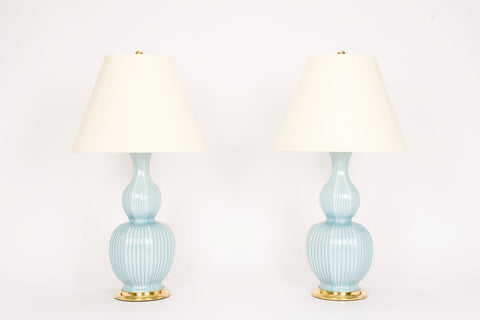 Pair of Delft Lamps in Hydrangea
