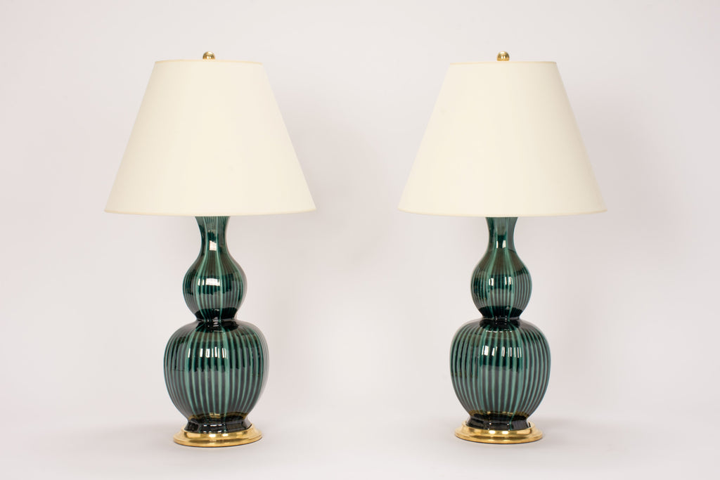 Pair of Delft Lamps in Peacock