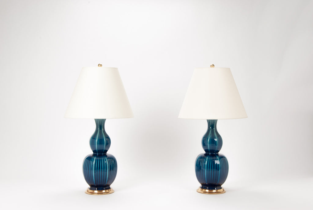 Pair of Delft Lamps in Prussian Blue