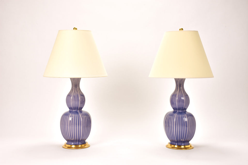 Pair of Delft Lamps in Wisteria