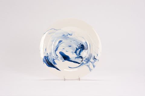 Set of 4 Dinner Plates in Delft Blue Marble