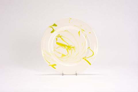 Set of 4 Dinner Plates in Lime Green Marble