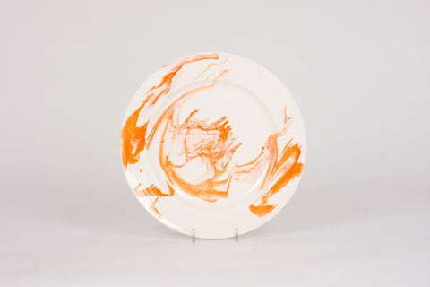 Set of 4 Dinner Plates in Orange Marble