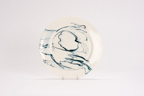 Set of 4 Dinner Plates in Teal Marble