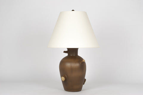 Single Faux Bois Lamp in Matte Brown