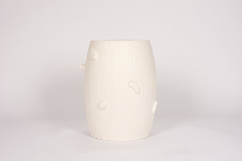 Faux Bois Garden Stool in Matte White
