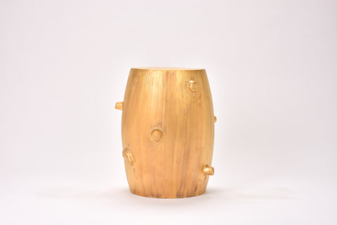 Faux Bois Garden Stool in Matte Gold