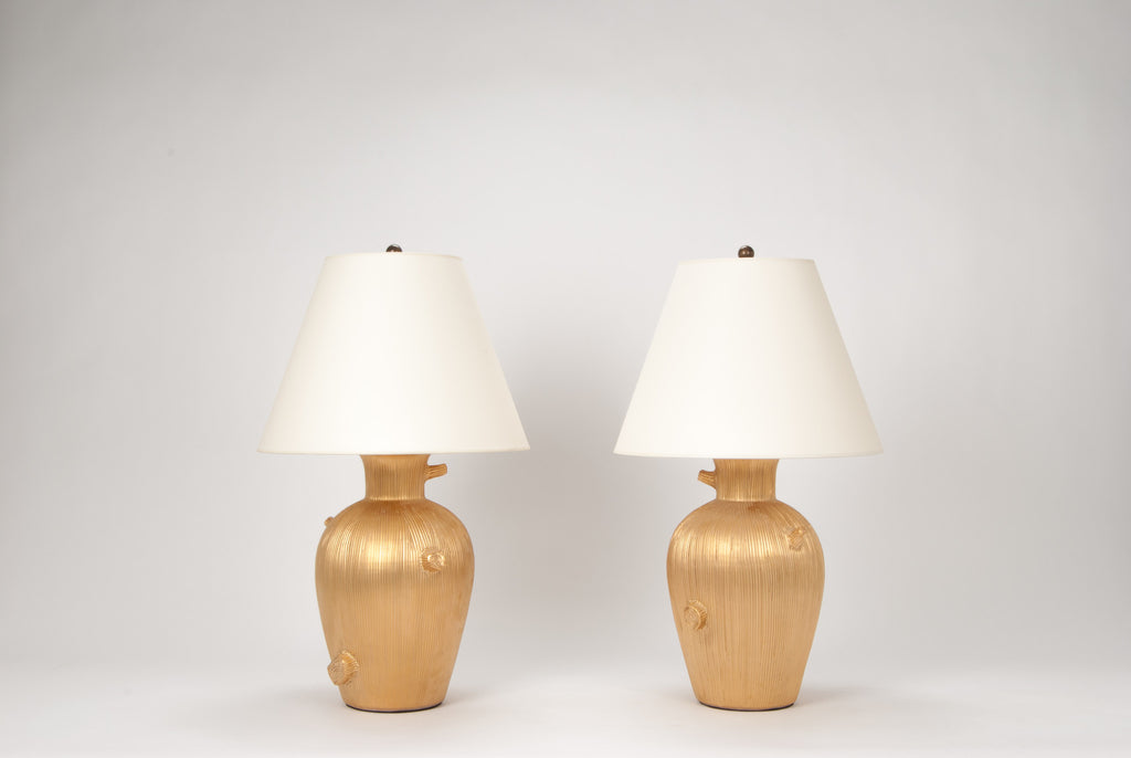 Pair of Faux Bois Lamps in Matte Gold Luster