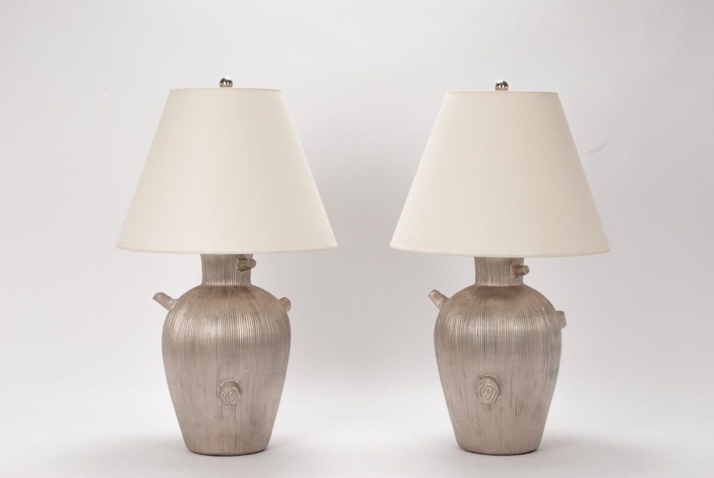 Pair of Faux Bois Lamps in Matte Platinum Luster