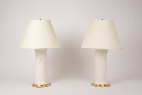 Pair of Faux Bois Patricia Lamps in Matte White