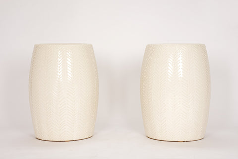 Pair of Garden Stools with Chevron in Clear