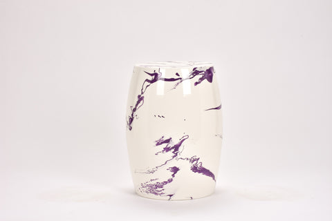 Garden Stool in Lilac Marble
