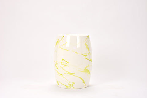 Garden Stool in Lime Green Marble