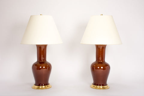 Pair of Garniture Lamps in Amber