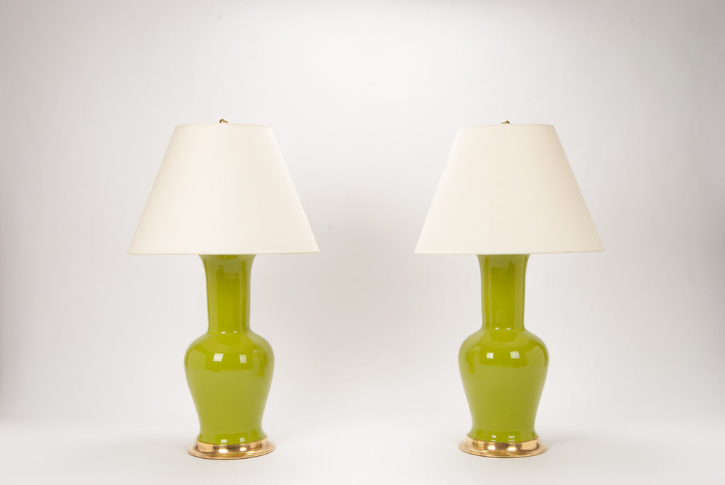 Pair of Garniture Lamps in Chartreuse