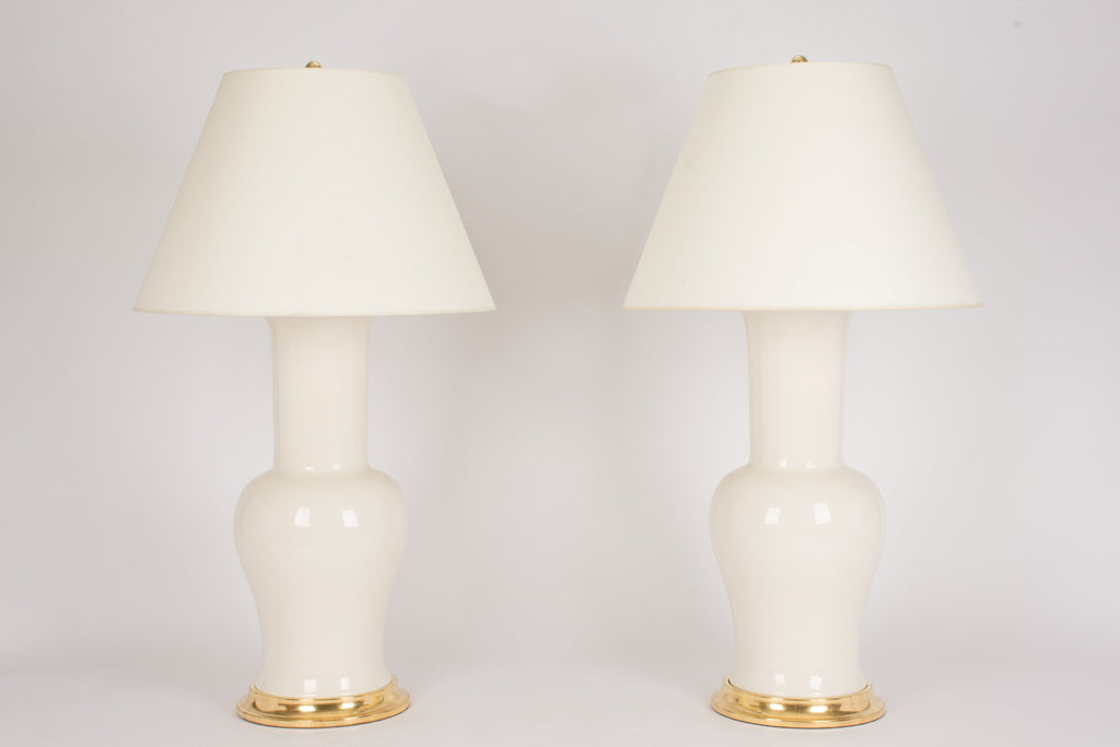 Pair of Garniture Lamps in Clear Crackle