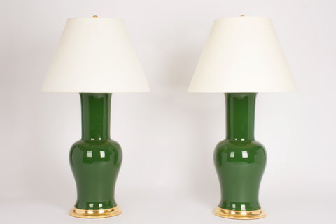 Pair of Garniture Lamps in Dark Green