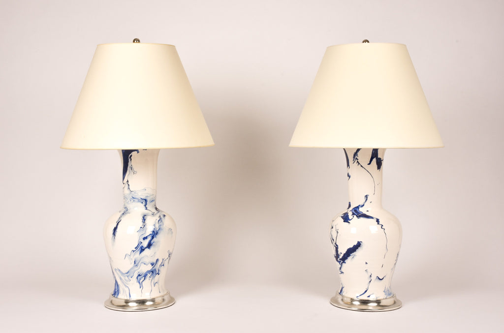 Pair of Garniture Lamps in Delft Blue Marble