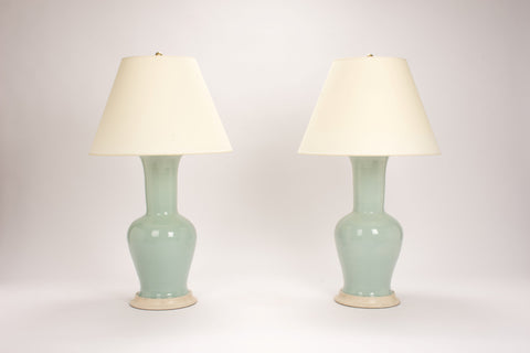 Pair of Garniture Lamps in Duck Egg