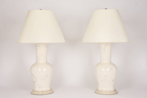 Pair of Garniture Lamps in Heather Grey Marble