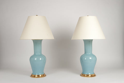 Pair of Garniture Lamps in Hydrangea