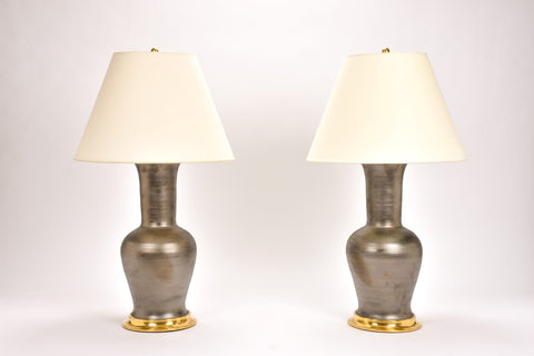 Pair of Garniture Lamps in Matte Bronze