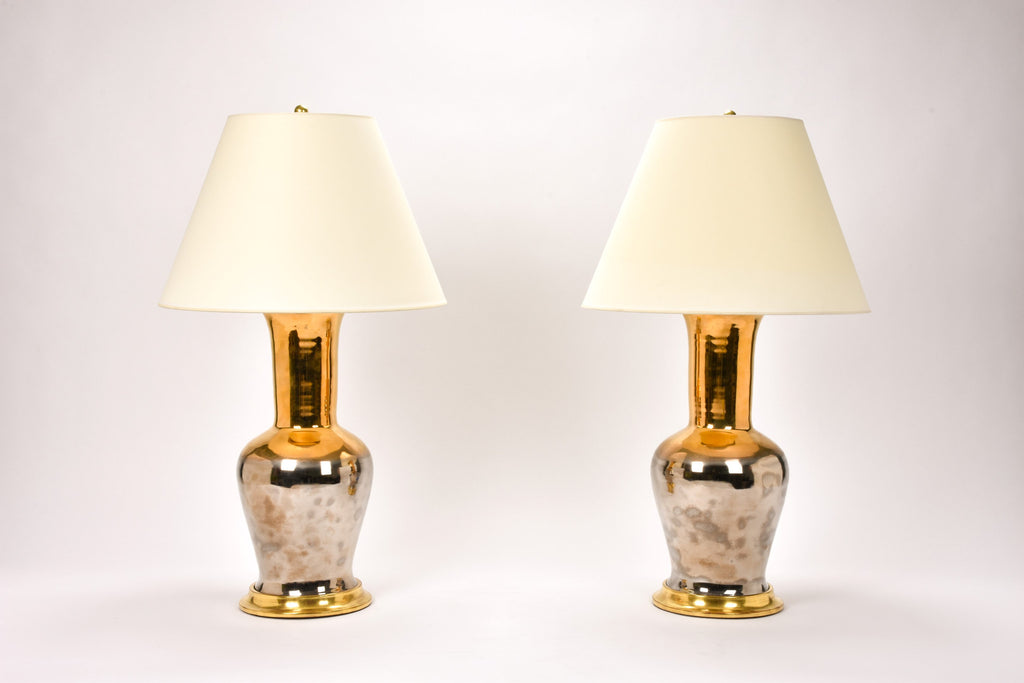 Pair of Garniture Lamps in Mixed Luster