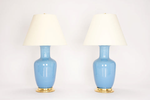 Pair of Ginger Jar Lamps in Cornflower