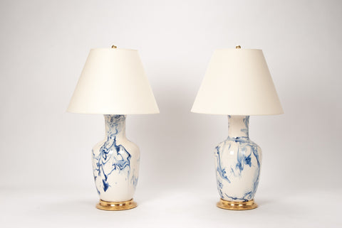 Pair of Ginger Jar Lamps in Delft Blue Marble