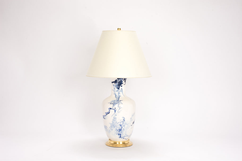 Single Ginger Jar Lamp in Delft Blue Marble