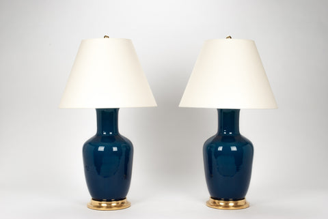 Pair of Ginger Jar Lamps in Prussian Blue