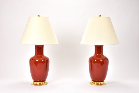 Pair of Ginger Jar Lamps in Scarlet
