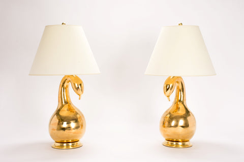 Pair of Gooseneck Lamps in Gold Luster