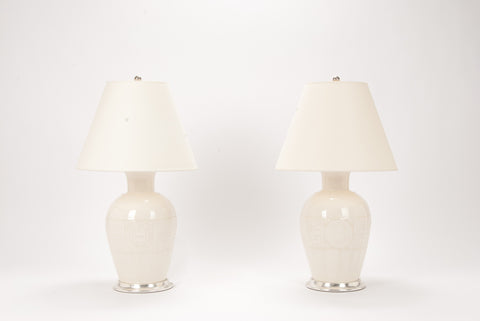 Pair of Greek Key Lamps in Clear Crackle