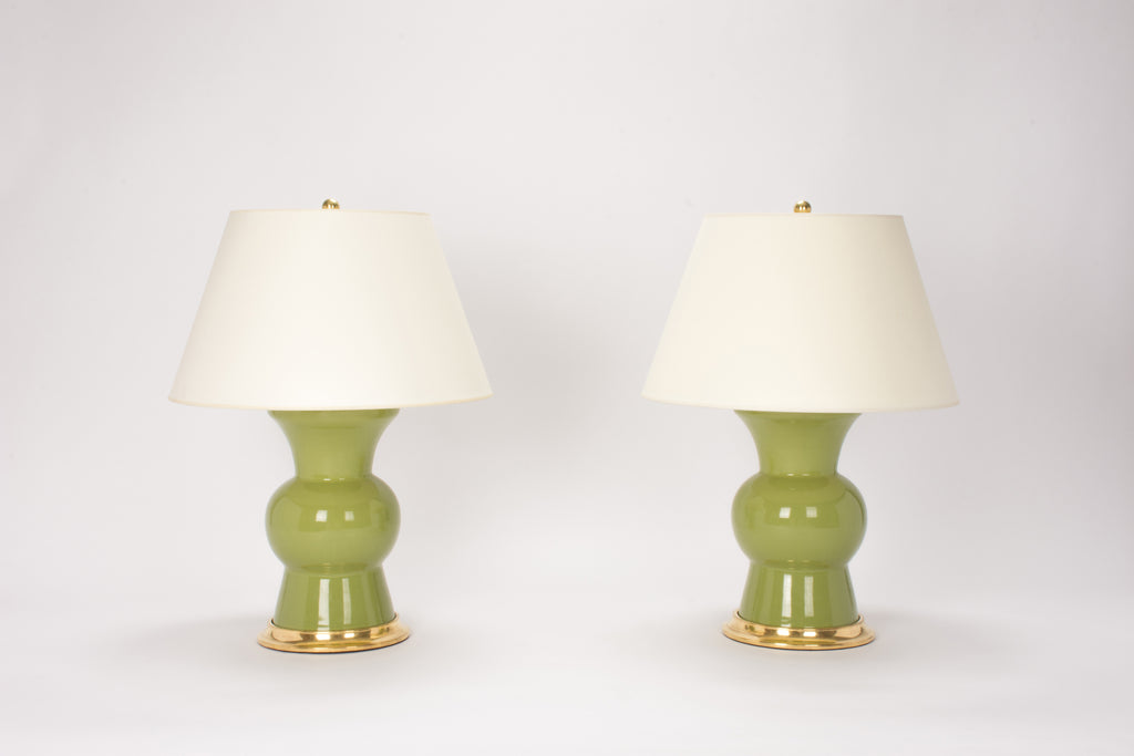 Pair of Gregory Lamps in Avocado