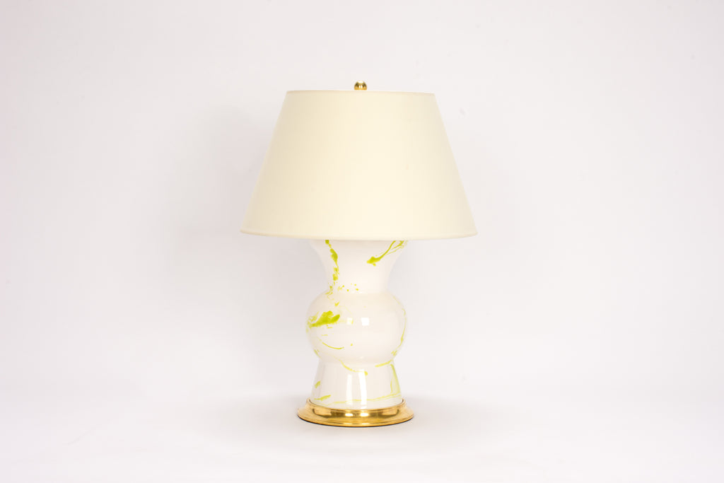 Single Gregory Lamp in Lime Green Marble