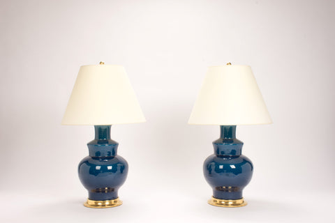 Pair of HB Kim Lamps in Prussian Blue